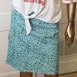 Vintage 90s Chaus Blue Daisy Floral A Line Skirt